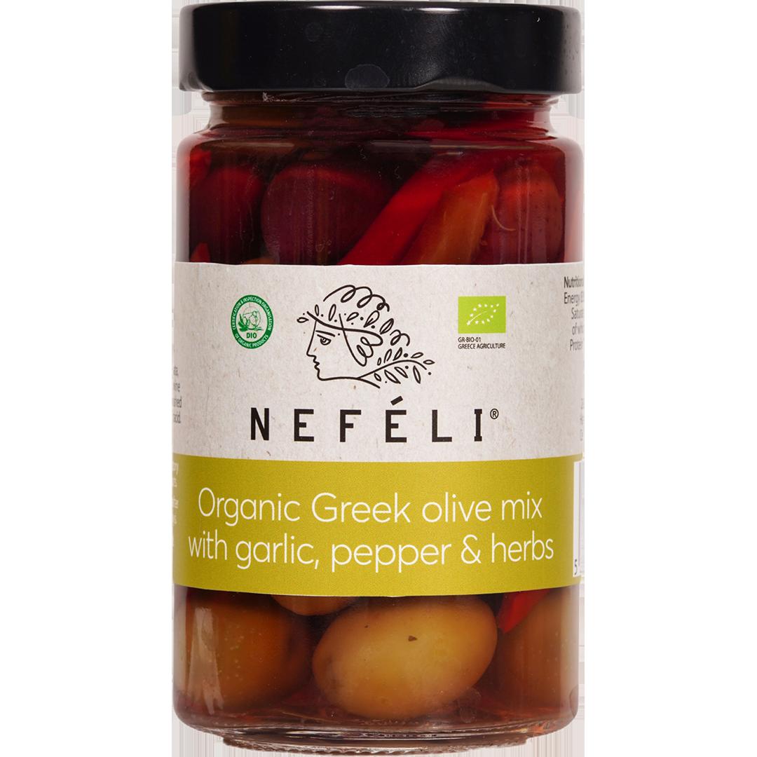 Nefeli Organic Greek Olive Mix with Garlic, pepper & herbs