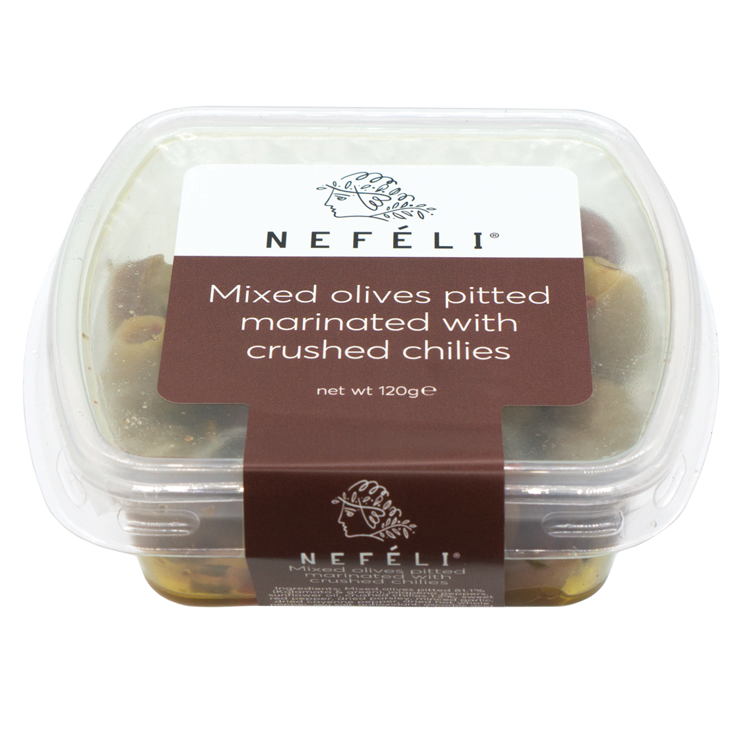 Nefeli Mixed Olives Pitted Marinated with Crushed Chilies